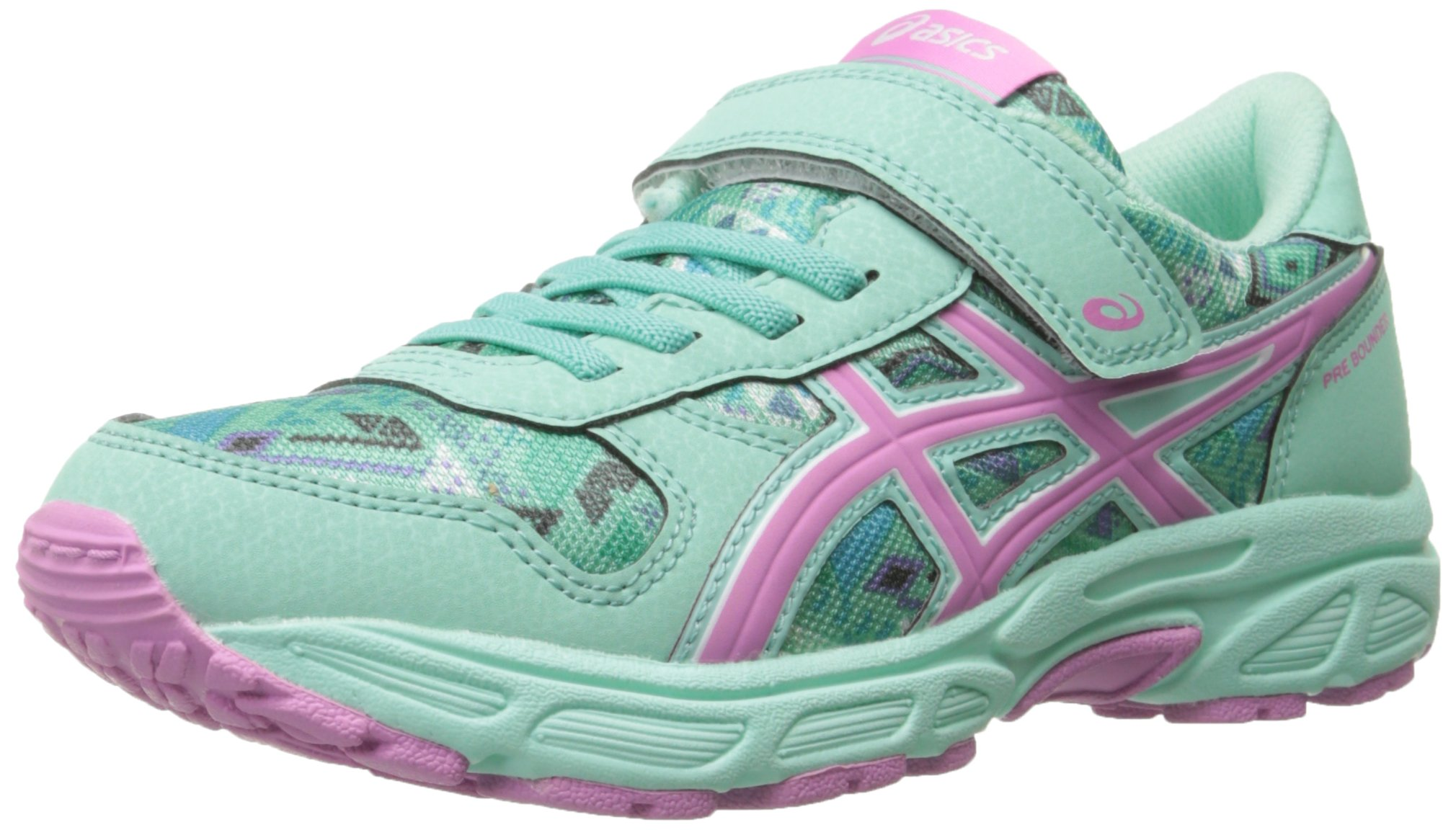 ASICS Pre Bounder PS Running Shoe (Toddler/Little Kid), Beach Glass/Pink/Bermuda, 3 M US Little Kid