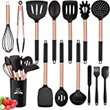 Silicone Cooking Utensil Set, 14pcs Kitchen Utensils Set Non-Stick Heat Resistant Cookware Stainless Steel Handle…