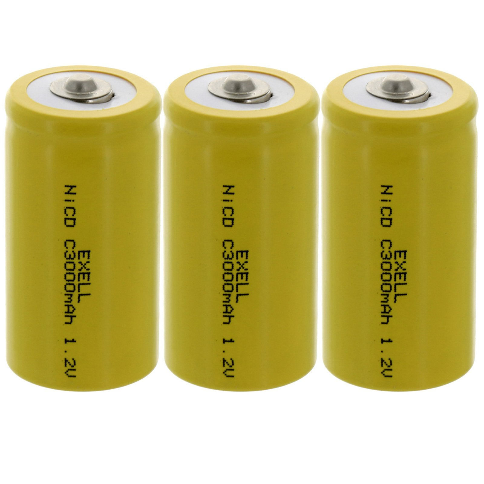 (3-PACK) Exell C Size 1.2V 3000mAh NiCD Button Top Rechargeable Batteries for medical instruments/equipment, electric razors, toothbrushes, radio controlled devices, electric tools