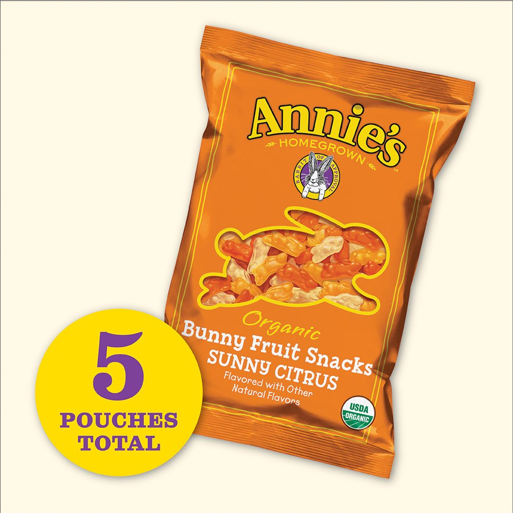 Annie's Homegrown Organic Bunny Fruit Snacks, Sunny Citrus, 25 Pouches, 0.8oz by Annie's Homegrown (Image #2)