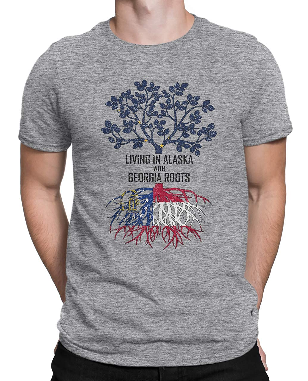 Tenacitee Mens Living in Alaska with Georgia Roots T-Shirt