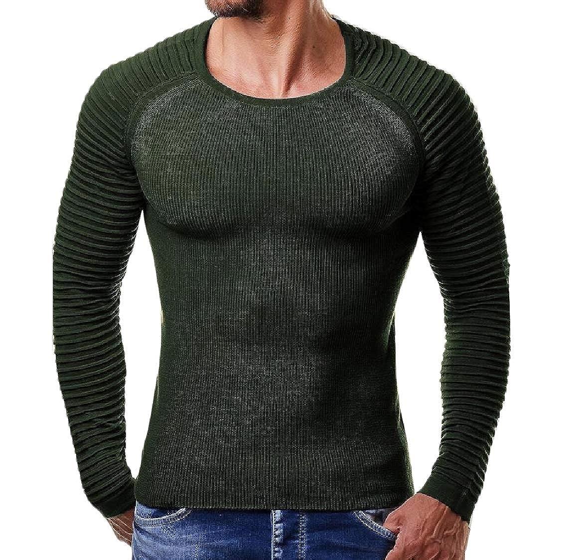 Vska Mens Autumn Regular Ribbed Stretch Knitted Warm Sweater Pullover