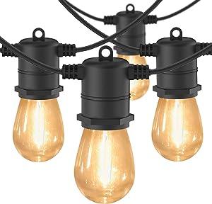 iMartine LED String Lights Outdoor Waterproof 48FT & 15 Shatterproof Hanging Edison Bulbs, Commercial Patio String Lights Outside for Cafe Pergola Backyard Garden Porch Backyard Bistro Lighting