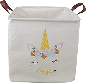 HUAYEE 19.7 Inches Large Laundry Basket Waterproof Round Cotton Linen Collapsible Storage bin with Handles for Hamper,Kids Room,Toy Storage (Square Magic Unicorn)