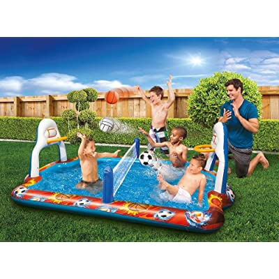 Kiddie Pool Water Sports Arena Activity Splash Pool Volleyball Net & Full Court Basketball Hoops Wading Water Fun!: Toys & Games
