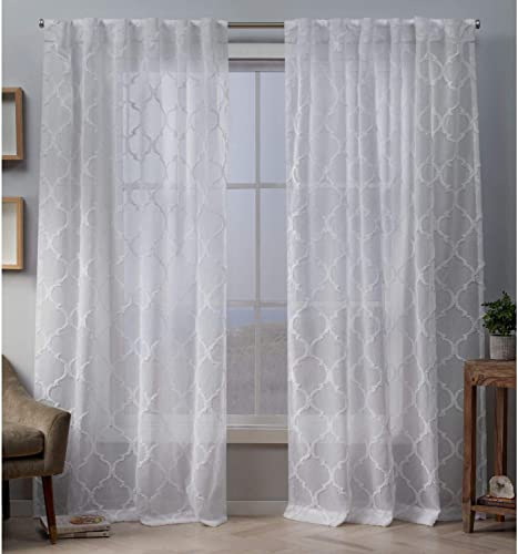 Exclusive Home Curtains Aberdeen Sheer Woven Trellis Embellished Hidden Tab Top Curtain Panel Pair, 54×96, White