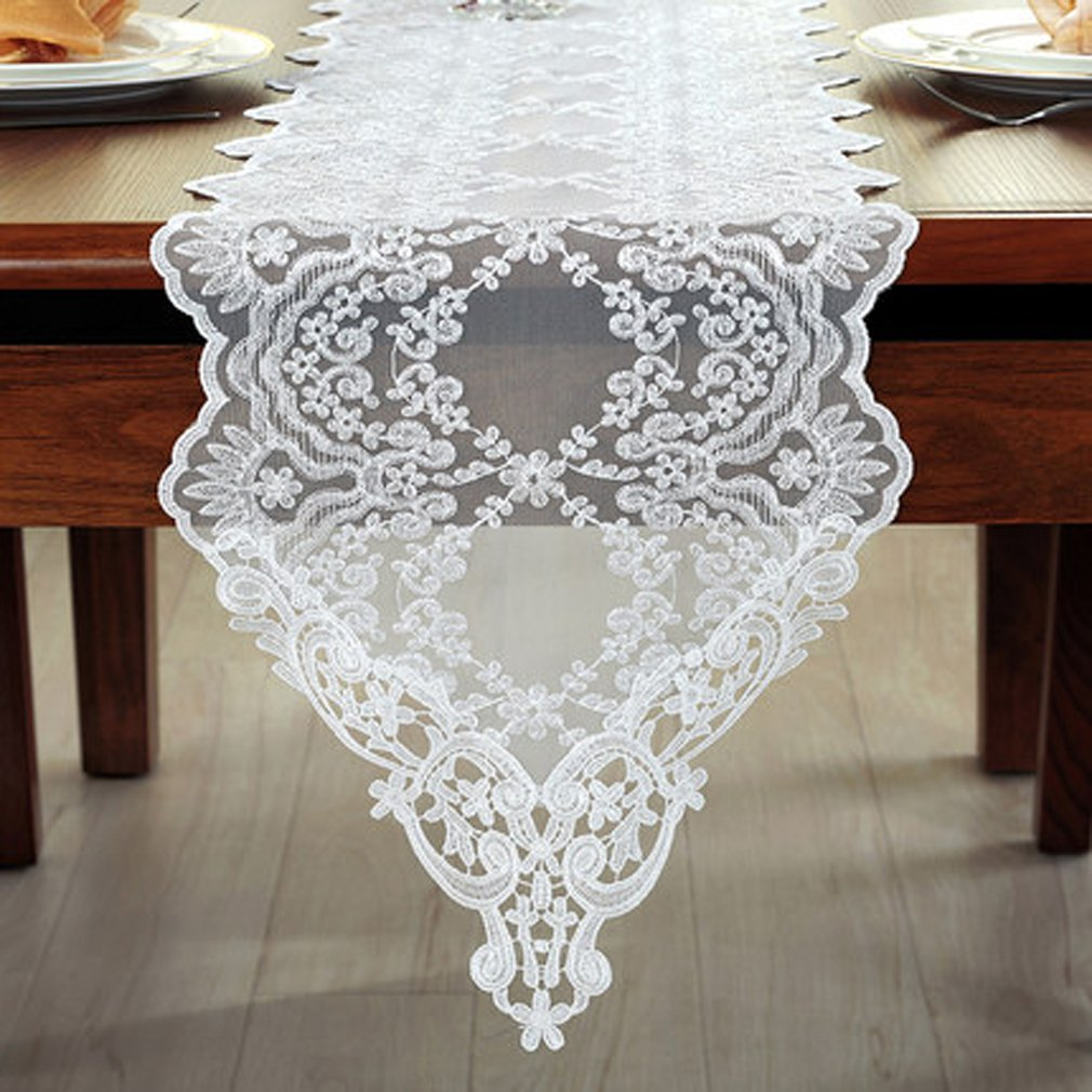 Tina Wedding Party Home Decoration Embroidered Lace Table Runner And Scarves White, 12x60''