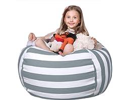 WEKAPO Stuffed Animal Storage Bean Bag Chair Cover for Kids | Stuffable Zipper Beanbag for Organizing Children Plush Toys | 3
