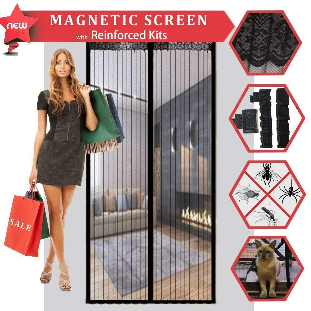 CROPAL Magnetic Screen Door with Reinforced Kits, Fits Doors up to 32'' x 82'' inch-Black