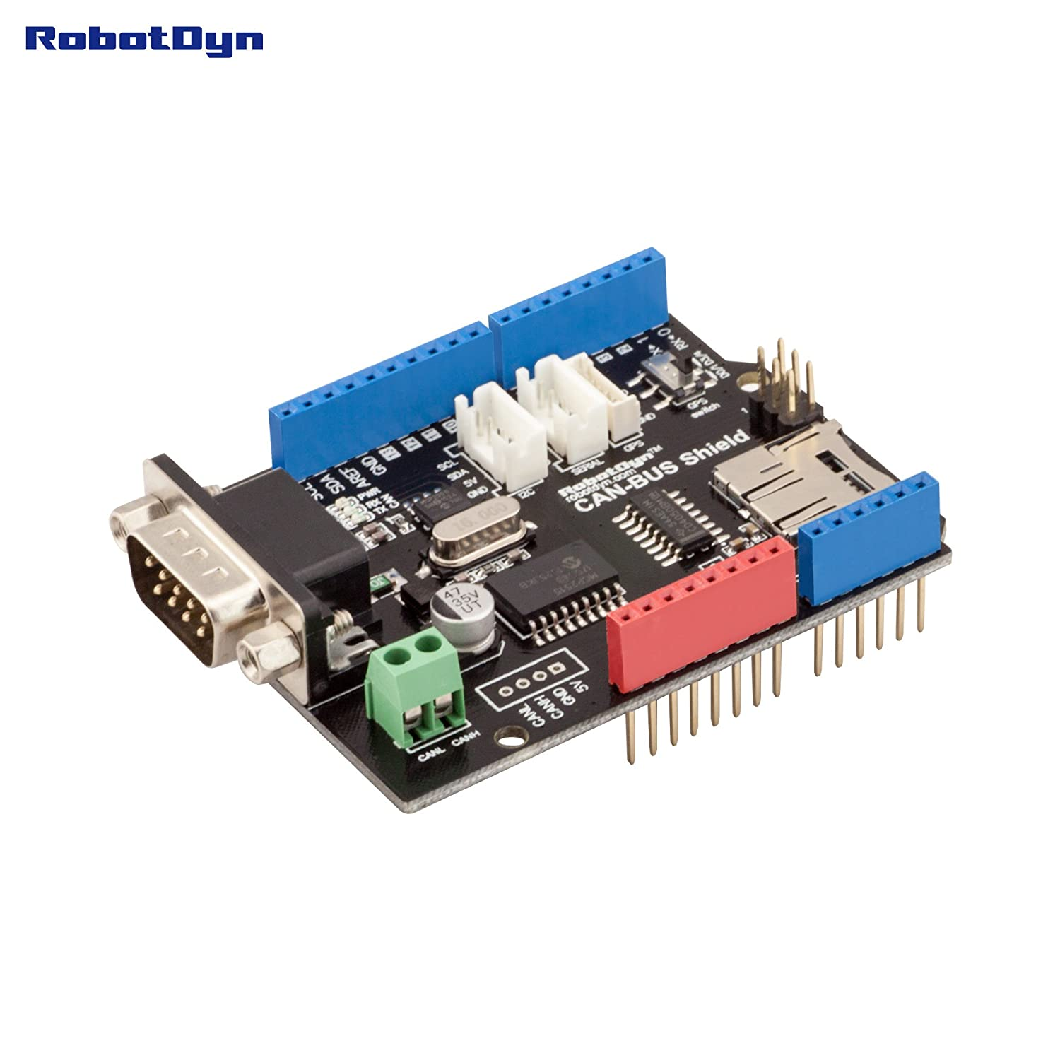 Robotdyn Can Bus Shield Compatible For Arduino Wiring Diagram Also Mini Usb Pinout Mcp2515 Controller And Mcp2551 Transceivergps Connect Microsd Card Reader