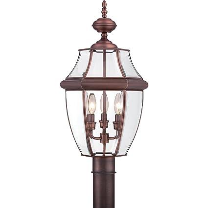 quoizel ny9043ac newbury 3 light outdoor lantern aged copper