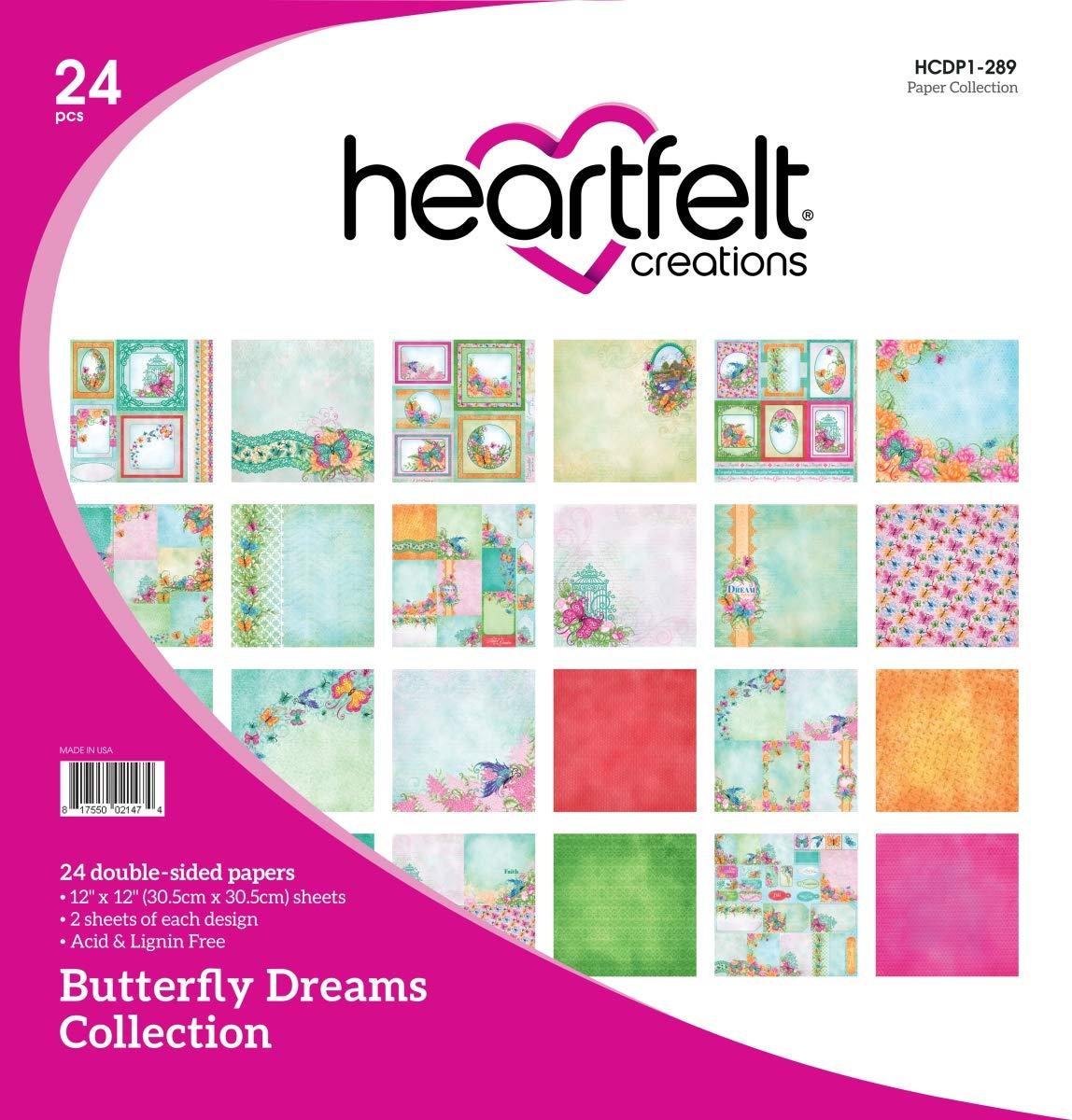 "Heartfelt Creations Double-Sided Paper Pad 12/""x12/"" 24//pkg 12 Butterfly Dreams"