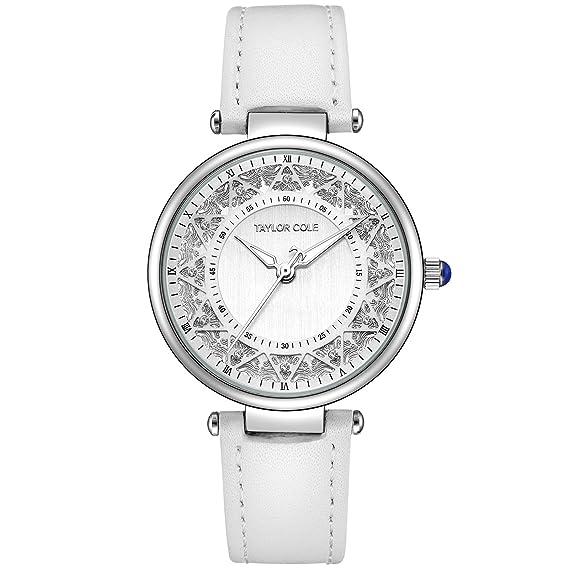 Taylor Cole Reloj Mujer de Moda con Correa de Cuero Blanco Analógico Cuarzo Reloj de pulsera