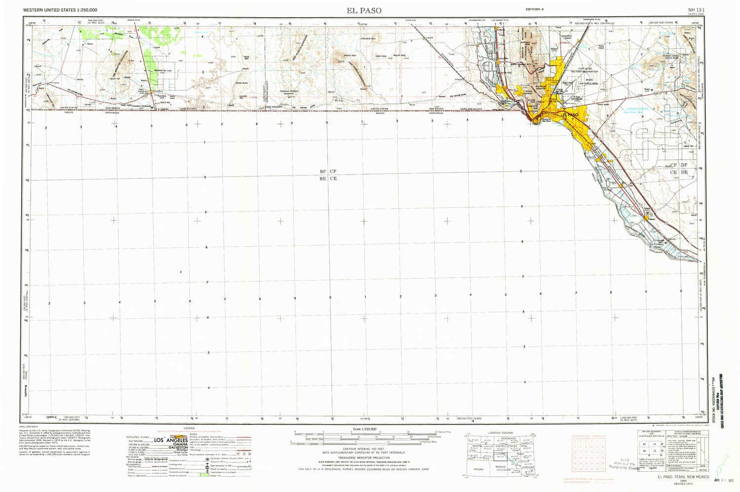 Amazon.com : YellowMaps El Paso TX topo map, 1:250000 Scale ...