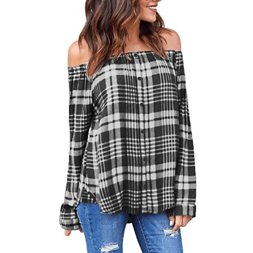 0656d4cf980 Image Unavailable. Image not available for. Color: Photno Women's Plaid  Blouses Casual Off Shoulder Long Sleeve Tees Button Down ...