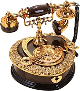 ornerx Shiny Vintage Dial Telephone Shaped Music Box Black