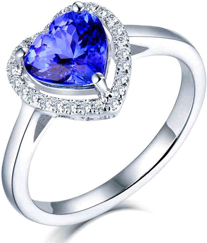 AtHomeShop Auténtica colección de oro blanco de 18 quilates, anillos de compromiso de estilo clásico con forma de corazón y tanzanita y diamante para regalo de Año Nuevo