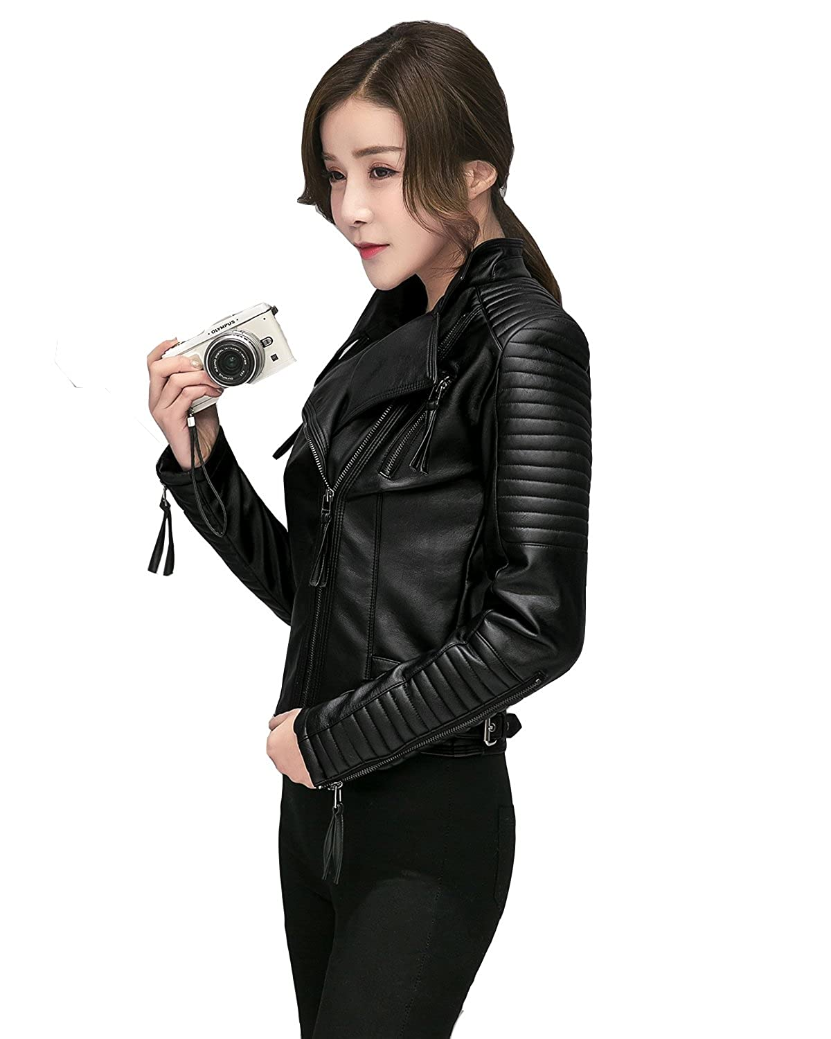 Fitaylor Women's Faux Leather Biker Jacket Slim Short Coat Zipper Moto Jackets
