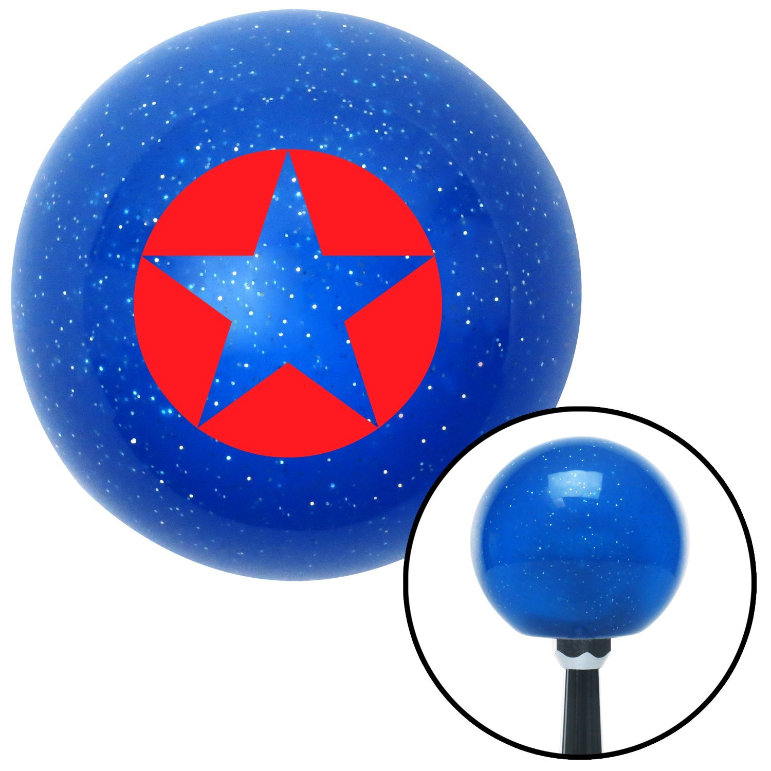 Red Star in Circle American Shifter 26632 Blue Metal Flake Shift Knob