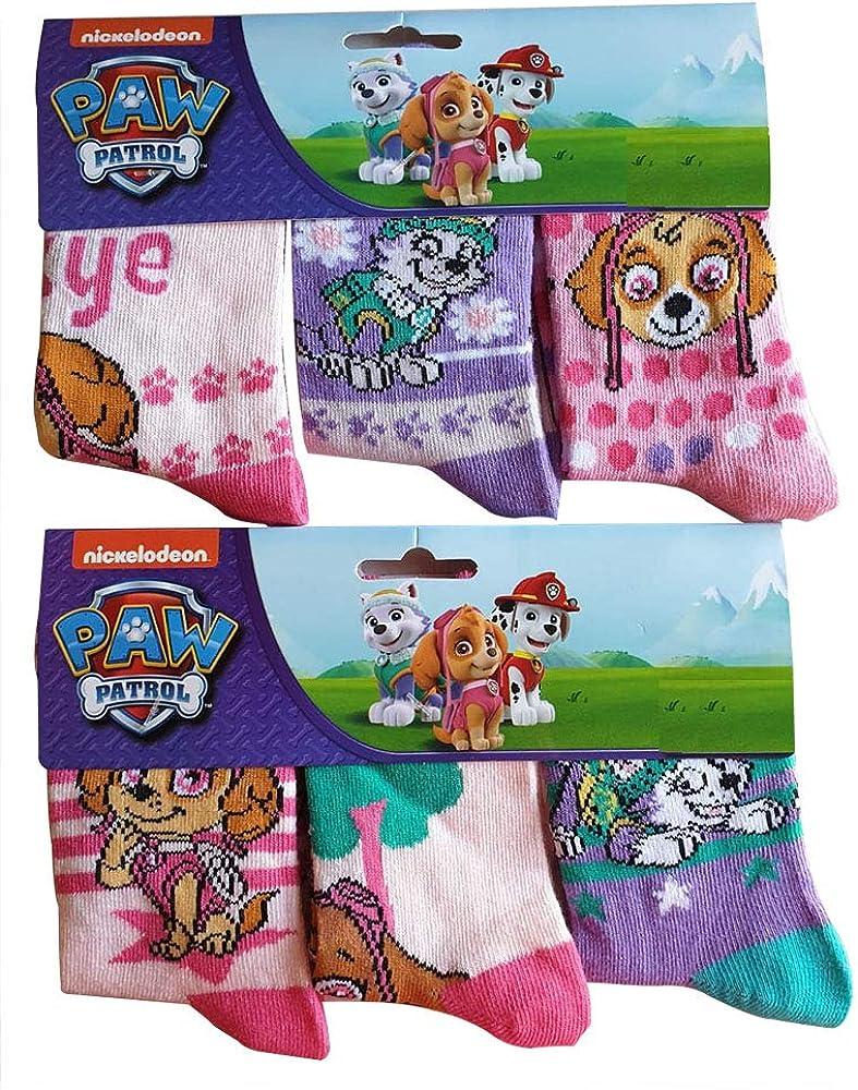 23//26 Kindersocken in den Farben Rosa//Lila PAW-PATROL M/ädchen Socken im 6er Pack mit den Hunden Skye /& Everest