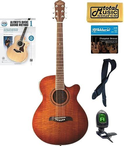 Oscar Schmidt concierto/Folk Guitarra acústica/eléctrica, llama amarillo, og10cefys libro Bundle