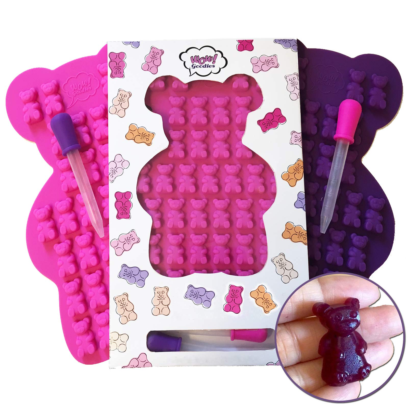 UNIQUE Extra Large Gummy Bear Mold - 2 Big Molds + 2 Bonus Droppers - Durable BPA Free Silicone -''The Bears Popped out Easily, They are so Cute and Have Unique Details That Actually Came Out'' (A.C) by Wow! Goodies