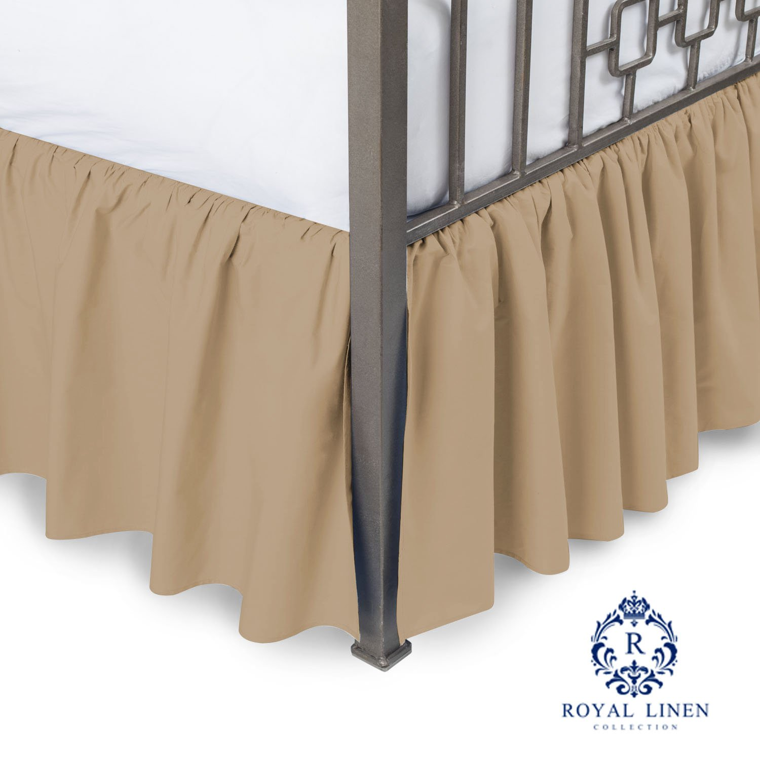Royal Linen Collection Hotel Quality 800TC Pure Cotton Dust Ruffle Bed Skirt 16'' Drop length 100% Natural Cotton California King Size Taupe Solid