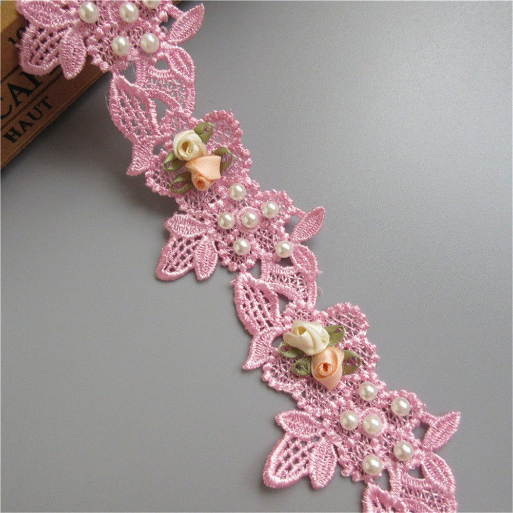 1 Meter Pearl Flower Lace Edge Trim Ribbon 6 cm Width Dark Pink Trimmings Vintage Style Fabric Embroidered Applique Sewing Craft Wedding Bridal Dress Embellishment Party Decoration Clothes Embroidery Qiuda