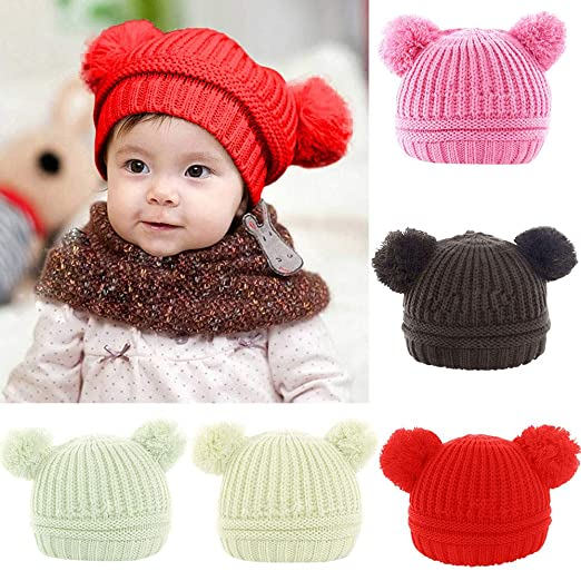 804878a4a09 Amazon.com  Outtop(TM) Baby Headbands Toddler Kids Boys Girls Winter Keep  Warm Crochet Knit Hat Infant Hairball Cap (6M~2T