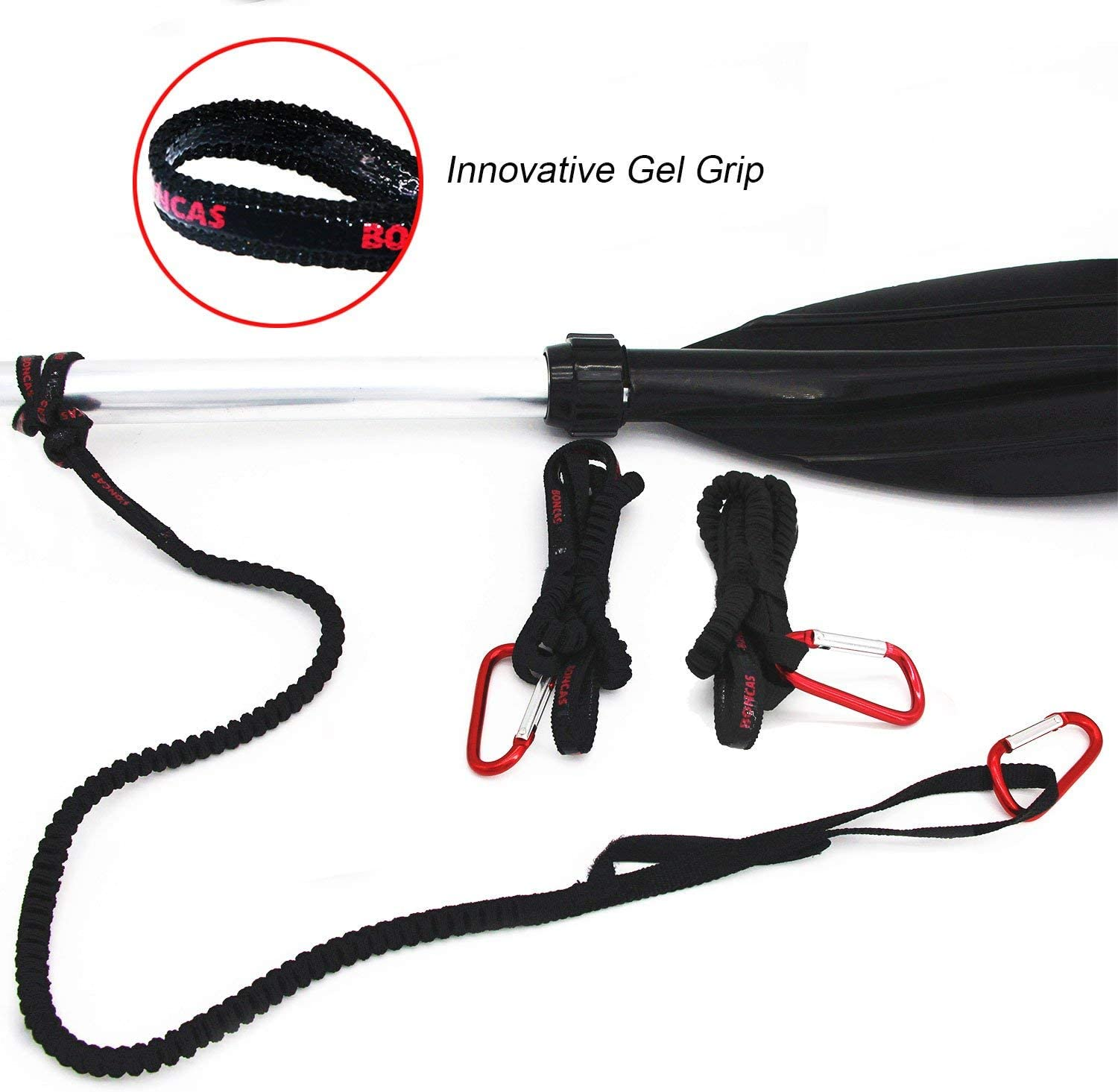 Paddle Leash Safety Rod Bungee Rod Holder Gripping Gear Leash with Innovative Gel Grip to The Paddle or Rod for Kayaking, Canoeing