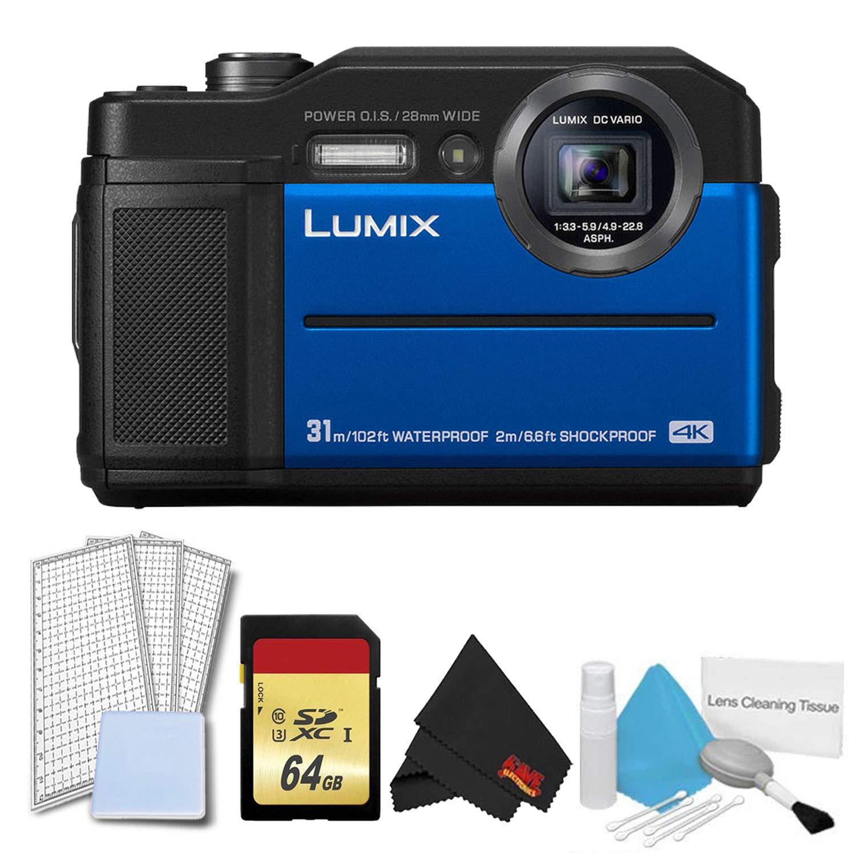 パナソニック Lumix DC-TS7 デジタルカメラ (ブルー) 基本キット compact Basic Blue w/ 64GB B07LCXM142