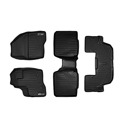 2011-2014 Black MAXLINER A0082//B0109 Floor Mats for Ford Explorer with 2nd Row Center Console 2 Row Set
