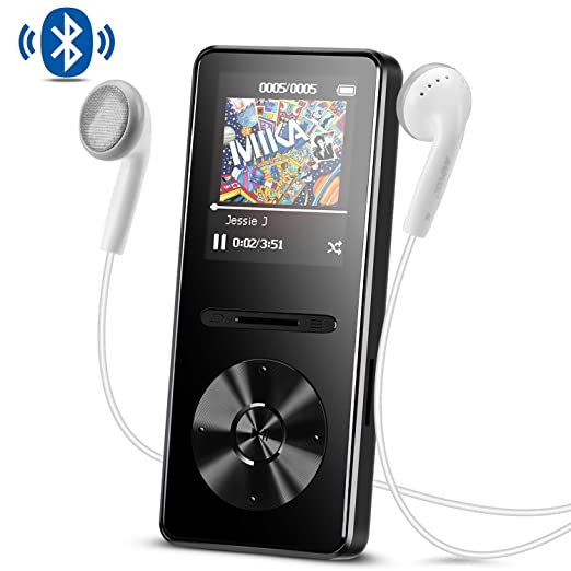 AGPTEK Reproductor Mp3 con Bluetooth 4.0, 8 GB Metal Reproductor de música de Hi-Fi Lossless Sonido con Radio FM, Color Negro A29TB: Amazon.es: Electrónica
