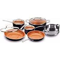 Gotham Steel Pots and Pans 10 Piece Cookware Set with Nonstick Ceramic Coating by Chef Daniel Green – Graphite, Fry…