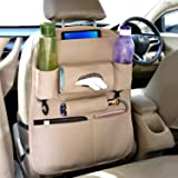 AllExtreme EXSBESB PU Leather Car Auto Seat Back Organizer Universal Multi Pocket Travel Storage Bag with Hangers, Tissue Paper and Bottle Holder (Beige)