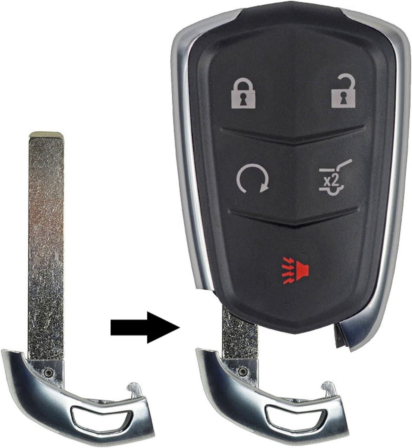 qualitykeylessplus Emergency Key Insert for Cadillac Smart Remote Uncut Blade Blank with Free KEYTAG