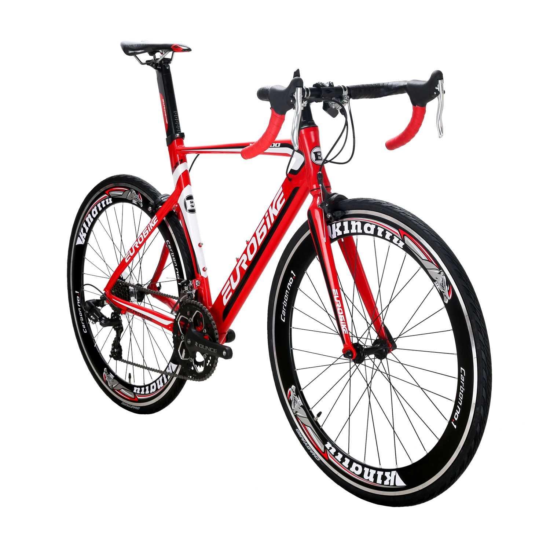 KINGTTU ロードバイク XC7000 アルミニウム合金自転車700C軽量 フレーム高さ54cm 変速14速 破れた風の車輪 碟刹自転車 B07BDG3F9C 赤 赤