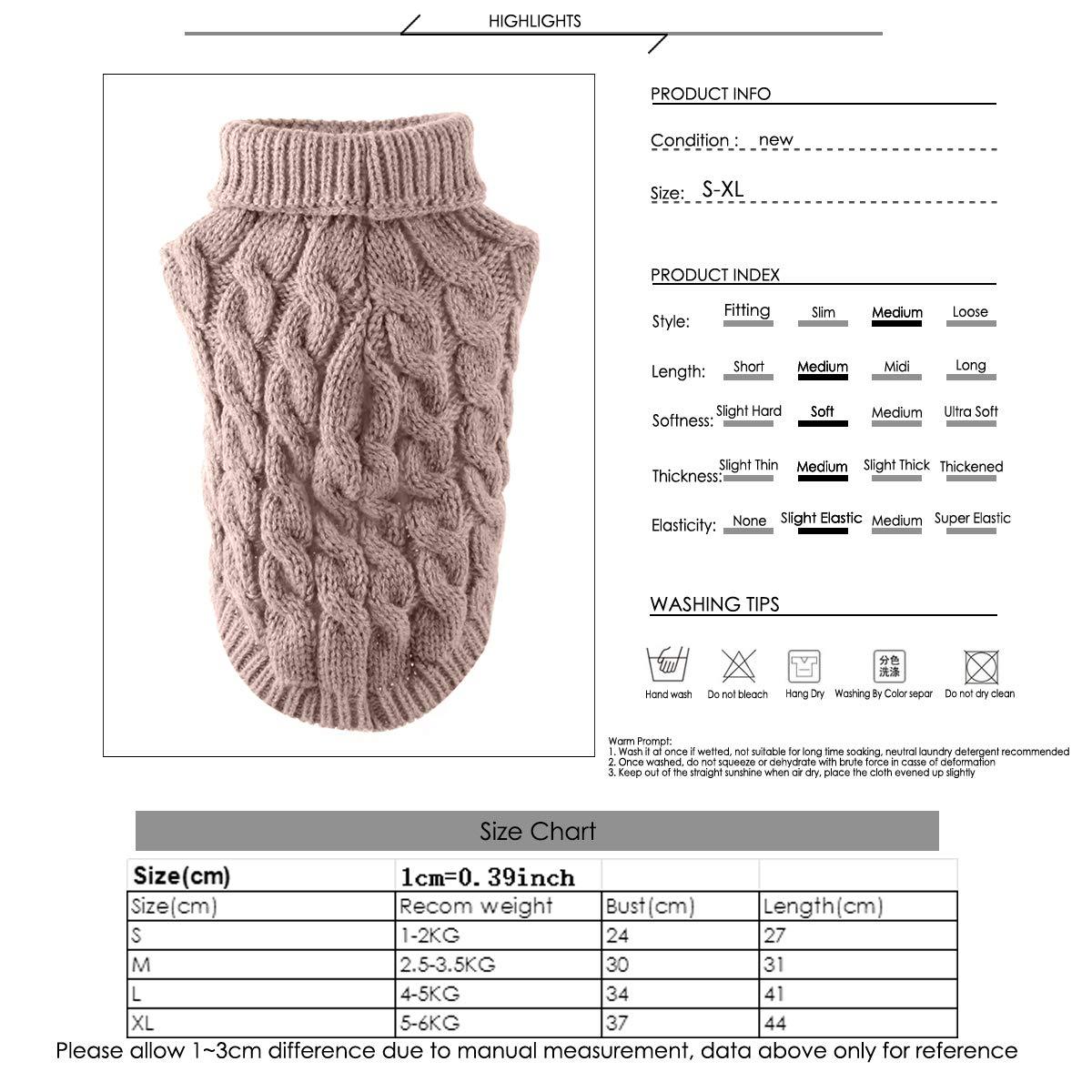 Ponacat Maglione per Animali Domestici Dolcevita per Cani Maglione Lavorato a Maglia Pullover Caldo Maglieria Outwear Cappotti Freddi Bianco//l