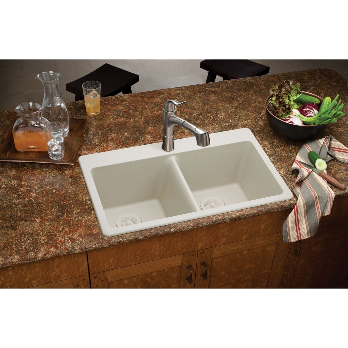 E granite sinks pros cons - Elkay Quartz Classic Elg3322mc0 Mocha Equal Double Bowl Top Mount Sink Double Bowl Sinks Amazon Com