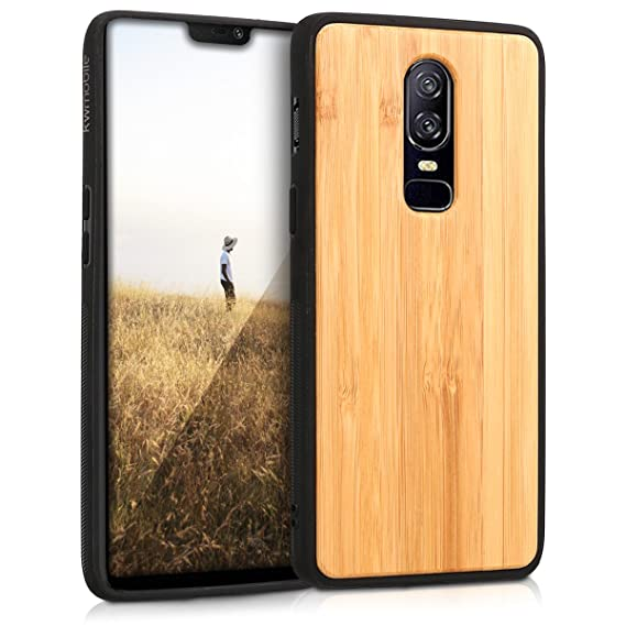 hot sale online 1690f ba0a2 kwmobile Wooden Protective Cover for OnePlus 6 - Hard case with TPU Bumper  Bamboo in Light Brown