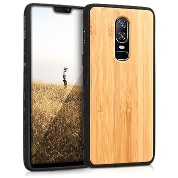 kwmobile Funda de Madera bambú para OnePlus 6 - Case Bumper de TPU - Cover Protector Duro en marrón Claro
