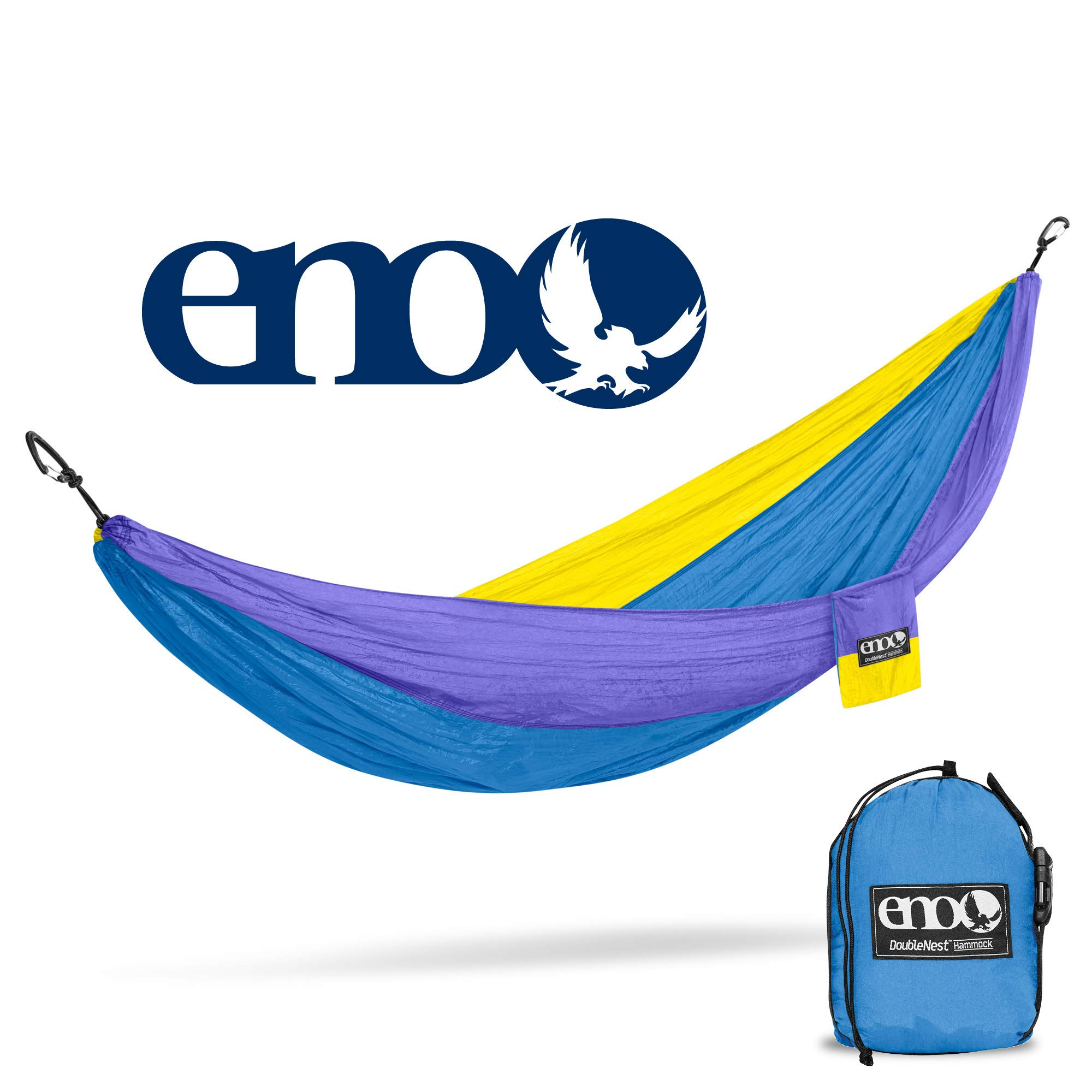 ENO - Eagles Nest Outfitters DoubleNest Hammock, Portable Hammock for Two, Yellow/Teal/Purple