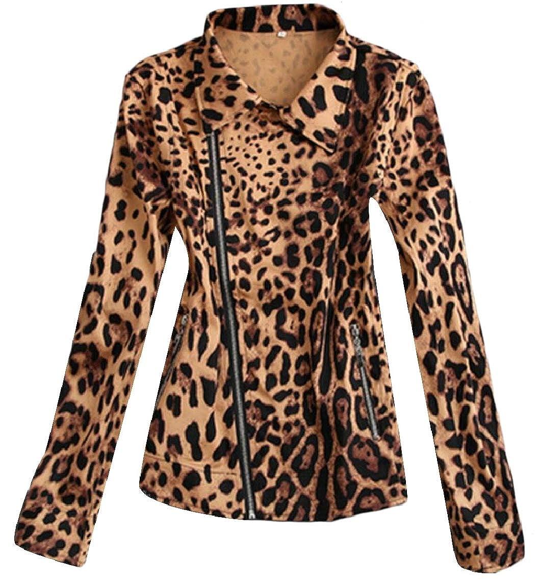 Yellow LEISHOP Women Casual Slim Fit Leopard Zipper Stylish Punk Jackets