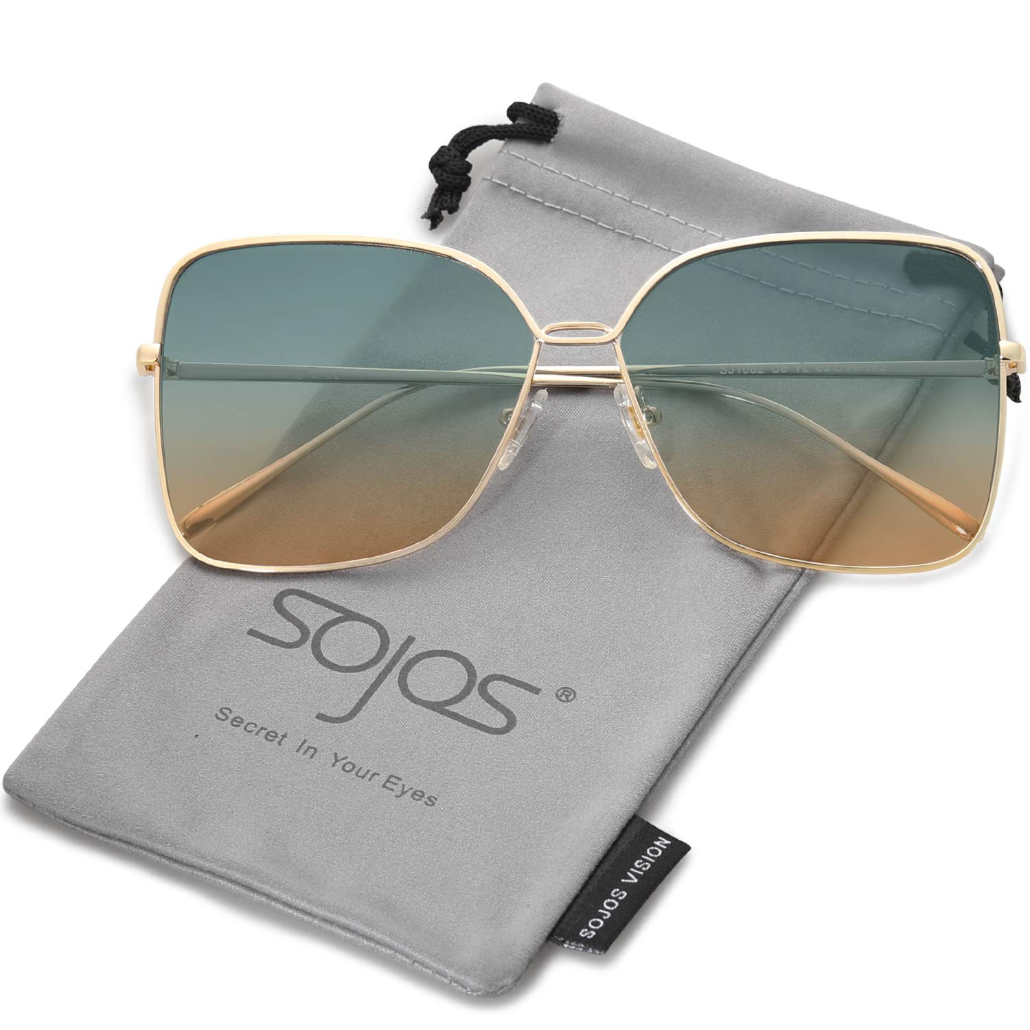 SOJOS Fashion Square Oversized Sunglasses Metal Frame Flat Mirrored Lens SJ1082 with Gold Frame/Green and Brown Lens