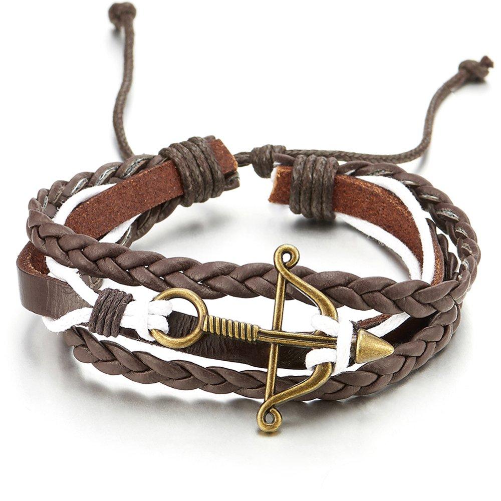 COOLSTEELANDBEYOND Mens Women Bow and Arrow Brown Braided Leather White Cotton Multi-Strand Wrap Bracelet Wristband