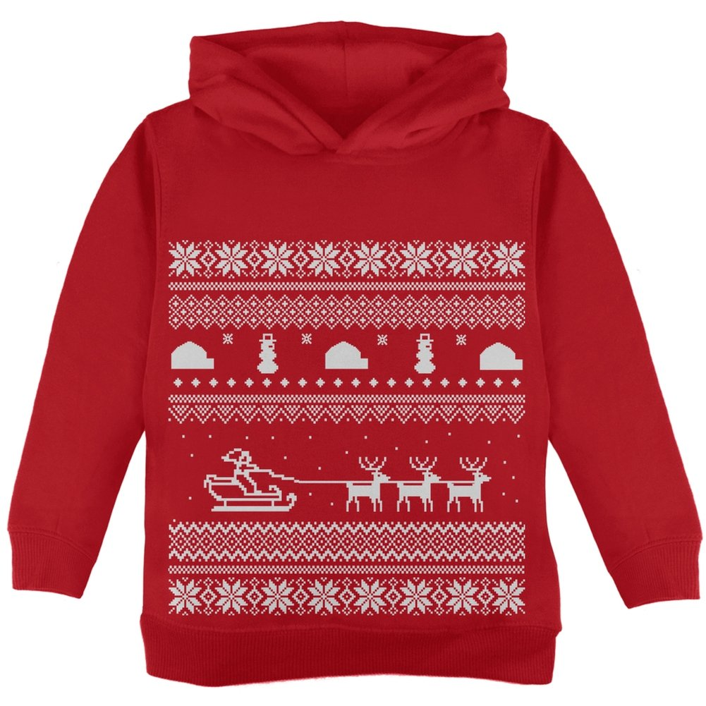 Old Glory Santa Sleigh Ugly Christmas Sweater Red Toddler Hoodie