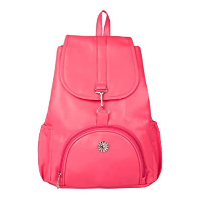 Musrat Women s PU Leather Bag Pack college Bag - Pink  Amazon.in ... 22432d67ccf0c