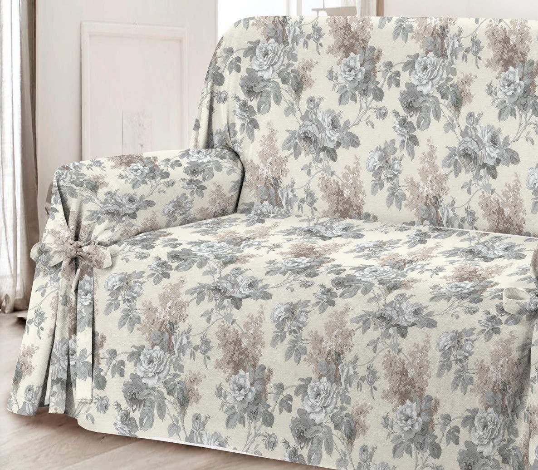 HomeLife – Cubre sofá de 2 plazas – Elegante Protector de sofás con Flores – Funda de sofá de algodón para Proteger del Polvo, Las Manchas y el ...