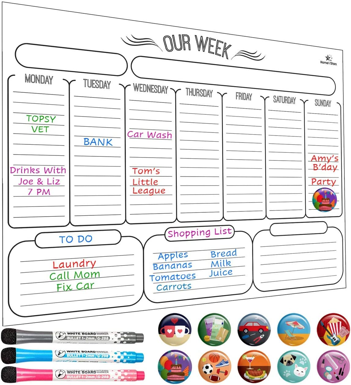 Dry Erase Weekly Calendar - Weekly Dry Erase Board - Magnetic Weekly Planner - Stain Resistant Nano Technology - Bonus 3 Fine Tip Magnetic Markers and Eraser, 10 Highlight Icons, 16 inch x 12 inch