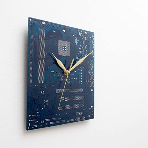 Large Blue Wall Clock Circuit Board Original Unique